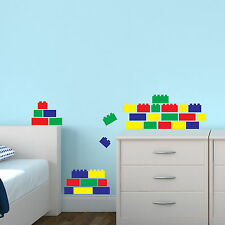 Building Bricks Wall Stickers x40 Blocks Decal Transfer Decoration for Bedroom