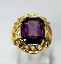 Vintage Estate Find Amethyst Ring 18k Yellow Gold Floral Details 5.5cts Quality