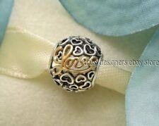 NEW Authentic Pandora Silver Gold MESSAGE OF LOVE Charm 791425 RETIRED