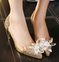 Womens Slip On High Heels Pointed Toe Sequins Clear Crystal Shoes Party Pumps