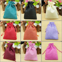 10pcs Vintage Natural Burlap Candy Gifts Bags Jute Jewelry Pouch Drawstring Sack