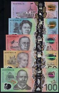 AUSTRALIA SET 5, 10, 20, 50, 100 DOLLARS 2016-2020 P-NEW POLYMER