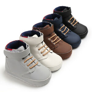 Newborn Baby Boy Crib Shoes Infant High Top Boots First Step Booties Size 0-18 M