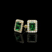 3ct Halo Green Emerald And Clear Diamond Stud Earrings 14k Yellow Gold Finish