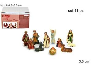 BOX MINI NATIVITA 3,5 CM. IN RESINA, SET 11PZ. NATIVITA', PASTORI,FIGURE,PRESEPE