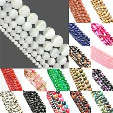 "15"" Long Natural Stone Gemstone Round Loose Beads Jewelry 4mm 6mm 8mm 10mm 12mm"