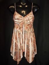 WET SEAL Spaghetti STRAP BEIGE CORAL CAMI TOP BLOUSE Jr. Women's Size SMALL