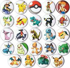 set of 24 Pokemon pins buttons ash pikachu pokeball charizard garchomp eevee go
