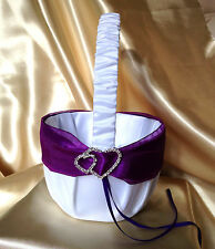 WHITE/LIGHT IVORY&PURPLE&DIAMANTE DOUBLE HEARTS FLOWER GIRL BASKET/WEDDING
