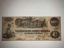 Csa 1862 Confederate Currency $100 Bank Note Train Paddleboat #1853