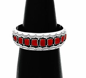 Hand Made Artist Signed Sterling Silver Coral Southwestern Carved Cuff Bracelet