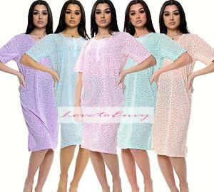Ladies Short Sleeve Night Dress Cotton Mix Jersey Sizes 8-18 Night Shirt Nightie