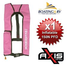 1 x Life Jacket Manual Inflatable PFD Axis Offshore 150N PINK Marine Lifejacket