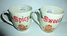 """""""New"""" Lenox Set of 2 Home for The Holidays Sweet & Spicy 14 oz. Porcelain Mugs"""