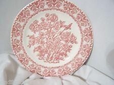 ROYAL CHINA BREAD PLATE TRANSFERWARE D 52 UNDERGLAZE RED PINK FLORAL BIRD 1++++