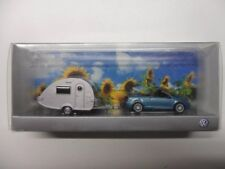 RARE VW EOS 1F 2.0 FSI 2006 BLUE SILVER WITH CARAVAN 1:87 WIKING (DEALER MODEL)