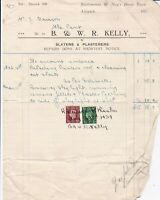 B. & W. R. Kelly Alnwick 1939 Slaters & Plasterers Stamps Receipt-Tear Ref 38834