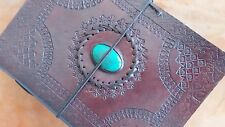 Vintage Handmade Leather Journal Turquoise Stone Brown Sketchbook Notebook 8X6