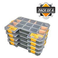 WrightFits Essential Tool Organiser Box - Stackable Storage Case 400 - Pack of 4