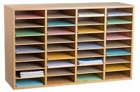 AdirOffice Medium Oak 36 Compartment Wood Adjustable School File Organizer