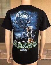 Vintage Seattle Seahawks T Shirt Majestic Size Large NFL Helmet Rain Jets Logo