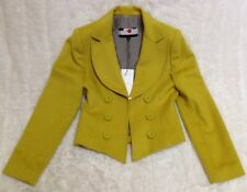 **BUSINESS VIXEN!!**JENNY HOO LIME WOOL CASHMERE CROPPED JACKET SILK LINING**10