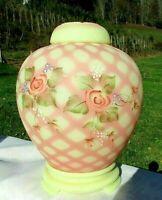 "Fenton Diamond Optic Cascading Rose 3/pcs. Burmese Ginger Jar Set 9""H x 7""W MINT"