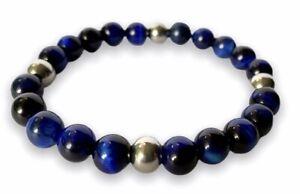Custom Made Personalised Natural Stone Blue Lapis 8mm Bead Beaded Bracelet