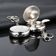 Round Pocket Cigarette Ashtray with Key Chain Portable Smoking Accessory _GG