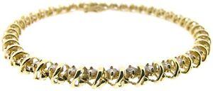 Ladies diamonds line bracelets tennis 7.25 inch yellow 2.5ct VS2 round vintage