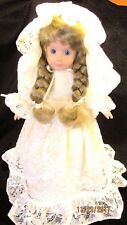 1980s Handcrafted Wedding Bridal Doll Long Blond Braided Hair Doll Stand Display