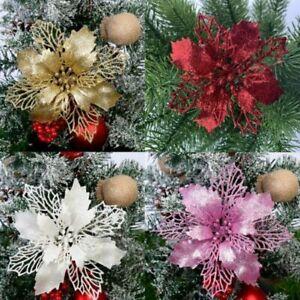 30/10PCS Large Glitter Poinsettia Flower Christmas Wreath Tree Decoration Xmas
