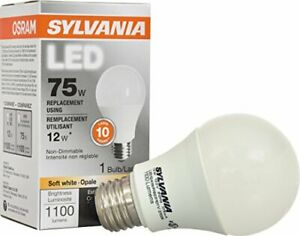 SYLVANIA 79291 75W Equivalent Contractor Series A19 Soft Non-Dimmable LED Lamp,