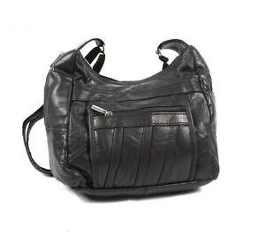 WOMEN'S  LEATHER SHOULDER BAG ORGANISER BLACK HANDBAG TRAVEL CABIN SIZE GIFT