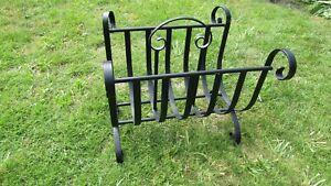 Wrought Iron Black Log Basket for Fireside