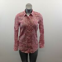 Eddie Bauer Button Up Floral Blouse Size Medium Pink Red Long Sleeve Cotton Top