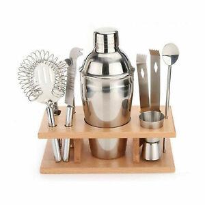 9Pcs Stainless Steel Cocktail Shaker Mixer Bar Tool Set Bartender Maker Kit