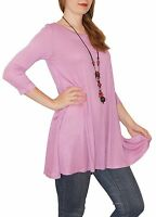 New 3/4 Sleeve Marsala Soft Pink Stretch Tunic Top Shirt Blouse Dress S M L Plus
