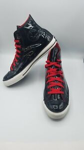 Converse All Star Chuck Taylor Black Patent Leather High Top Shoes Size 10.5