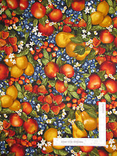 Fruit Pear Cherry Strawberry Apple Cotton Fabric Robert Kaufman Kiss Cook - Yard