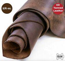 "ELW Sable Brown Oil Tan Cowhide Full Grain Leather Pre-Cuts 6"" to 48"" 5/6 Oz"