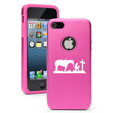 For iPhone 4 4S 5 5S 5c Aluminum Silicone Hard Case Cowgirl Praying Cross Horse