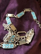 Vintage Silver Toned Chain Belt With Turquois Chips