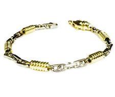 """14k Two Tone Gold Mens Handmade Chain Bracelet 8"""" 5 MM. 18 Grams"""