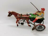 jouet tole ancien mecanique ARABIAN cheval sulky RUHL germany clockwork tin toy