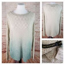 QED London Jr L Teal Green Ombre Front Tunic Sweater Open Knit Long Sleeves