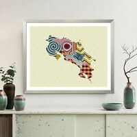 Poster Print Wall Art Costa Rica Map Central America Painting Wall Decor Gift