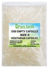 1000 Empty Vegetable Vegetarian Capsules Size 0 Kosher and Halal Gel Caps #0Veg
