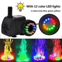 15W Water Fountain Pumps with 12LED Light Silent Small Submersible For Fish J6J3