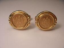 Rare 1945 Dos Pesos 18K Yellow Gold Coins Mens Cufflinks